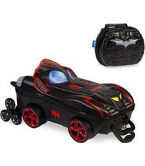 kit mochila batman chrome wheels 3d com rodinhas+ lancheira maxtoy