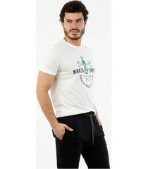camiseta de hombre, cuello redondo, manga corta, con estampado baker & smith