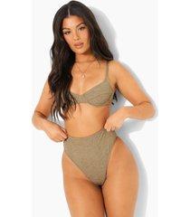 mix & match gekreukeld hoog uitgesneden string bikini broekje, light khaki