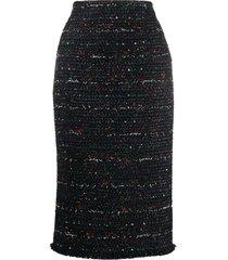 alexander mcqueen tweed pencil skirt - black