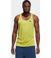 camiseta adidas regata aeroready 3-stripes flow primeblue amarelo - amarelo - masculino - dafiti