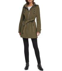 dkny women's hooded belted jacket - black - size s