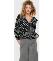blusa jacqueline de yong ml negro - calce regular
