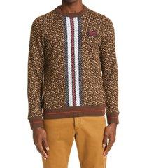 women's burberry fairhall monogram stripe sweatshirt, size small - brown