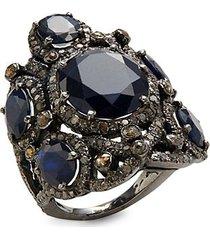 black rhodium-plated sterling silver, blue sapphire & diamond ring
