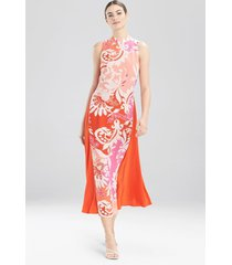mantilla scroll sleeveless dress, women's, red, silk, size 4, josie natori