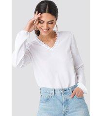 na-kd boho frill neck shirred part blouse - white