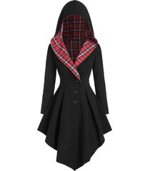 hooded asymmetric plaid lace up coat