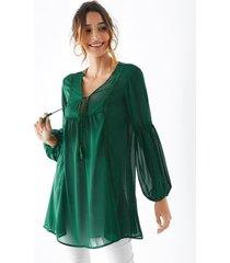 yoins blusa de gasa ahuecada con cuello en v verde