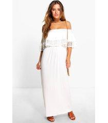 petite maxi jurk met boothals en zoomdetail, crème