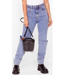 womens want make sway fringe crossbody bag - black