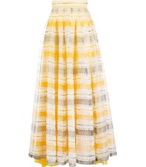 a.n.g.e.l.o. vintage cult 1970s panelled floral motif skirt - yellow