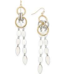 alfani two-tone linked linear drop earrings, created for macy's