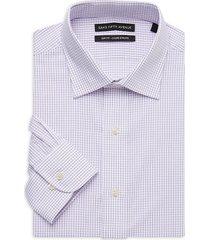 saks fifth avenue men's slim-fit check dress shirt - white - size 18.5 36-37