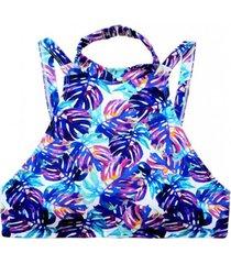 bikini peto cuello alto estampado azul samia
