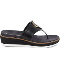 cole haan women's thong-toe leather wedge sandals - black - size 11