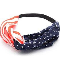flag pattern cross chiffon elastic headband