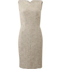 metallic boucle tweed dress