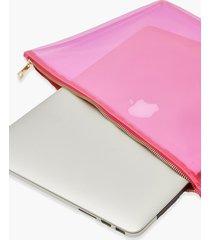 clear zip top laptop case, pink