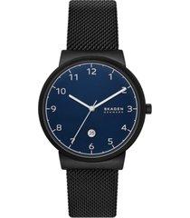 skagen men's ancher black stainless steel mesh bracelet watch 40mm