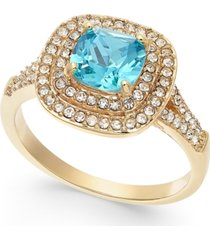 charter club gold-tone crystal square halo ring, created for macy's