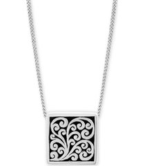 "lois hill decorative scroll square 20"" pendant necklace in sterling silver"