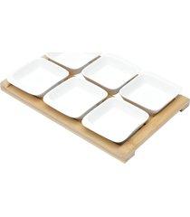 conjunto 6 petisqueiras de porcelana c/tábua bambu drava 31x20x5cm