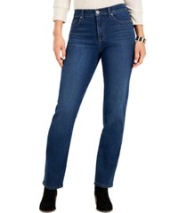 style & co petite high-rise natural straight-leg jean, created for macy's