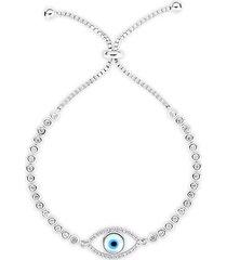 evil eye rhodium-plated sterling silver & crystal tennis bracelet