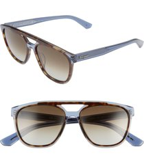 men's salvatore ferragamo 55mm navigator sunglasses - havana blue
