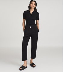 reiss blair - zipper detail tapered fit pants in, womens, size 14
