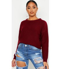 boxy scoop neck sweater, berry