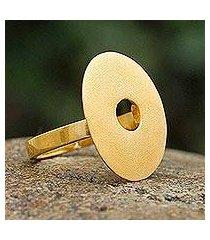 gold plated cocktail ring, 'golden aura' (peru)