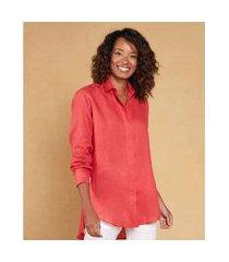 camisão manga longa linho cor: vermelho - tamanho: pp
