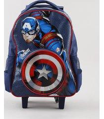 mochila escolar infantil com rodinhas capitão américa azul escuro