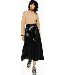 black full circle faux leather vinyl midi skirt - black