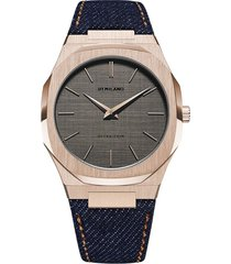 d1 milano western denim ultra thin 40mm watch - black