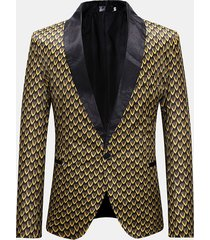 abito da uomo con stampa dorata abito monopetto con vestibilità formale
