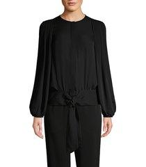 kobi halperin women's francesca pleated blouson tie-waist blouse - black - size xs
