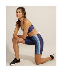 bermuda esportiva ace yoga com listras laterais azul marinho