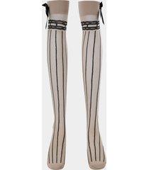 media de tubo largo con lazo a rayas calcetines