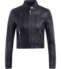 michael kors ponti combo short jacket in black leather