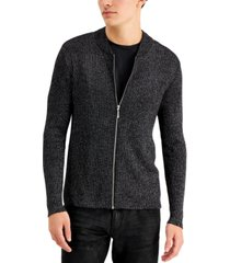 inc men's metallic ribbed-knit full-zip cardigan, created for macy's