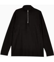 mens black twill 1/4 zip sweatshirt