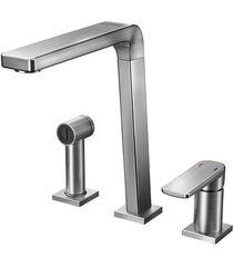 misturador monocomando para cozinha mesa bistrô com ducha manual grafite escovado - 00647370 - docol - docol