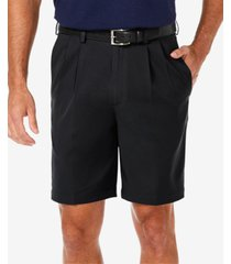 """haggar men's cool 18 pro classic-fit stretch pleated 9.5"""" shorts"""
