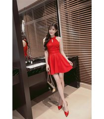 pf260 sexy cute sleveless swing mini dress, size s-xl, red
