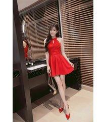 pf260 sexy cute sleveless swing mini dress, size s-xl, red