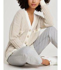 river island womens cream tweed knit cardigan