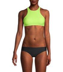 sam edelman women's high-neck bikini top - neon yellow - size m